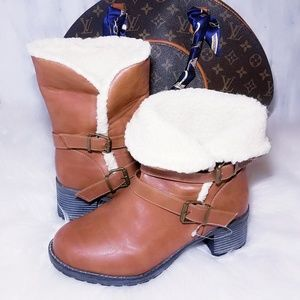 New Tan White Cognac Fur Ankle Heel Boots 8 8.5 9